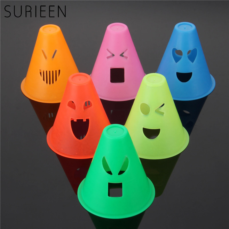 SURIEEN 10PCS Human Emotion Express Windproof Skating Cones Inline Skate Slalom Cones Training Traffic Markers Skate Accessories