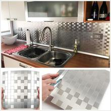 4PCS Silver 3D Square Fixed Peel and Stick Stainless Steel Mosaic for Bathroom Shower Tiles Kitchen Backsplash Tile Dropshipping fashion stainless steel metal mosaic glass tile kitchen backsplash bathroom shower background decorative wall paper wholesale