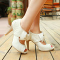 Ladies Elegant Summer Open Toe Gauze Pumps Thin Heel Shoes with Bow Large Size 34-43