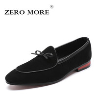 ZERO MORE Men Loafers With Tassel Fringe Bow Knot Cow Suede Classic Pointed Toe Slip On Men Shoes Casual Shoes 2019 Large Size