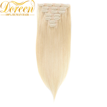 Doreen Full Head Set 120G Brazilian Remy Hair #60 White Blonde Clip In Human Hair Extensions 14″-26″ Natural Straight Clip Ins