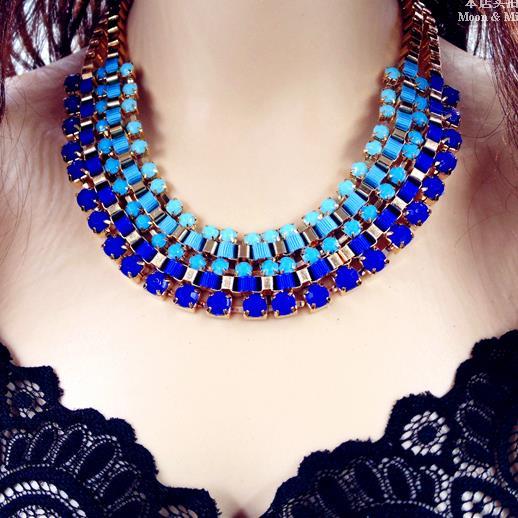 429ae7e25b59 Hechos a mano de Bohemia oro azul cadenas en capas Collar gargantilla  collares declaración gruesos 2016 nueva joyería moda mujer venta al por  mayor N90 en ...