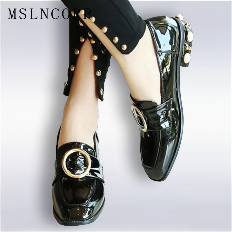 Plus Size 34-45 Spring Autumn Square Toe British Style Women Shoes Patent Leather Woman slip on Loafers Pearls Thick Heels Flats odetina 2017 new women pointed metal toe loafers women ballerina flats black ladies slip on flats plus size spring casual shoes