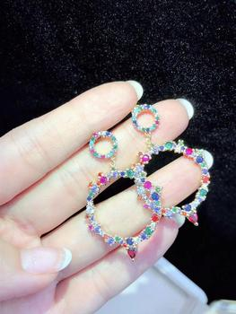 WT-JFE06 WKT Cubic Zirconia Pave Earrings Gold Earrings Fashion Colorful Earrings Women Fashion Earrings Jewelry Gift For Women фото