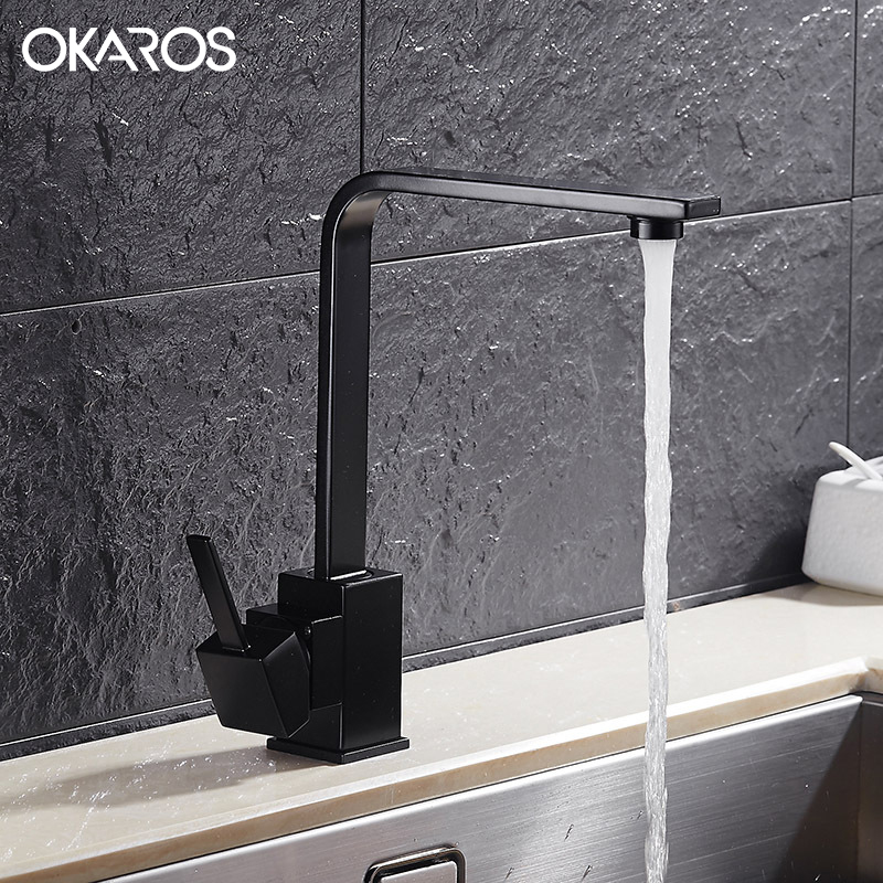 OKAROS New Design Kitchen Faucet Quartz Stone Brass Body 360 Degree Rotation Vessel Sink Basin faucet