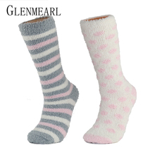 High Indoor Women Socks Soft Warm Spring Winter Brand Thick Striped Compression Hosiery Long Ladies Cosy Home Slipper