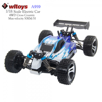 2017 WLtoys A959 RC High Speed Electric Car 2.4G 1:18 Scale 4WD Shaft Drive Off road Buggy Remote Control Vehicle RTF 50Km/H