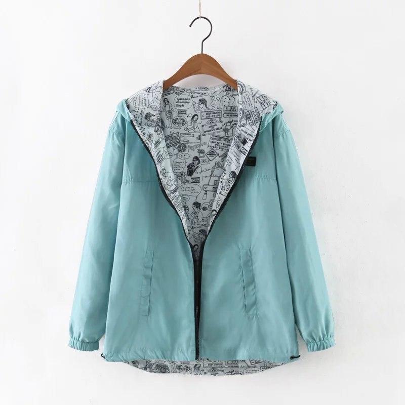 2018 Autumn Women Bomber   Basic     Jacket   Pocket Zipper Hooded Two Side Wear Cartoon Print Outwear Loose Coat