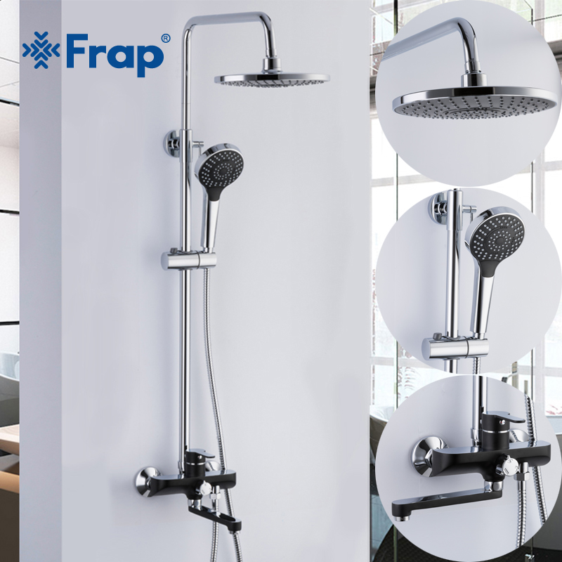 Frap Luxury black Wall Mounted bathroom Rain Shower faucets Set Square Stainless steel top spray with ABS Hand Shower F2442