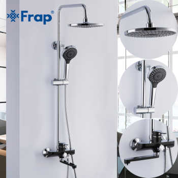 Frap Luxury black Wall Mounted bathroom Rain Shower faucets Set Square Stainless steel top spray with ABS Hand Shower F2442 - DISCOUNT ITEM  45% OFF All Category
