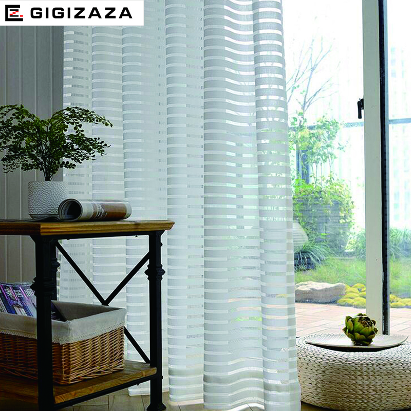 Sunny Solid Stripe Voile Window Sheer Cortinas para sala de estar Dormitorio GIGIZAZA Tulle Drape Stripe Process Color blanco