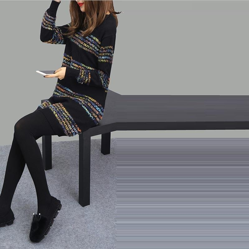 Longues Model Automne Rayé Lunga Pull Coréen Manches A Haute Tricoté Ligne Elbise Robe De Une Uzun Lâche Femme Femmes Taille Sexy À qIRw4P