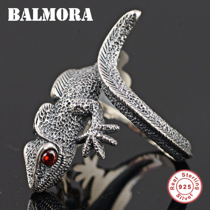 BALMORA Authentic 925 Sterling Silver Lizard Open Rings for Men Punk Personalized Ring Red Eyes Animal Jewelry Anillos SY21897 lizard сандали nes 35 red
