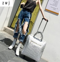 20 inch Pu leather hand women luggage wheel travel bags rolling luggage parts handle cabin suitcase