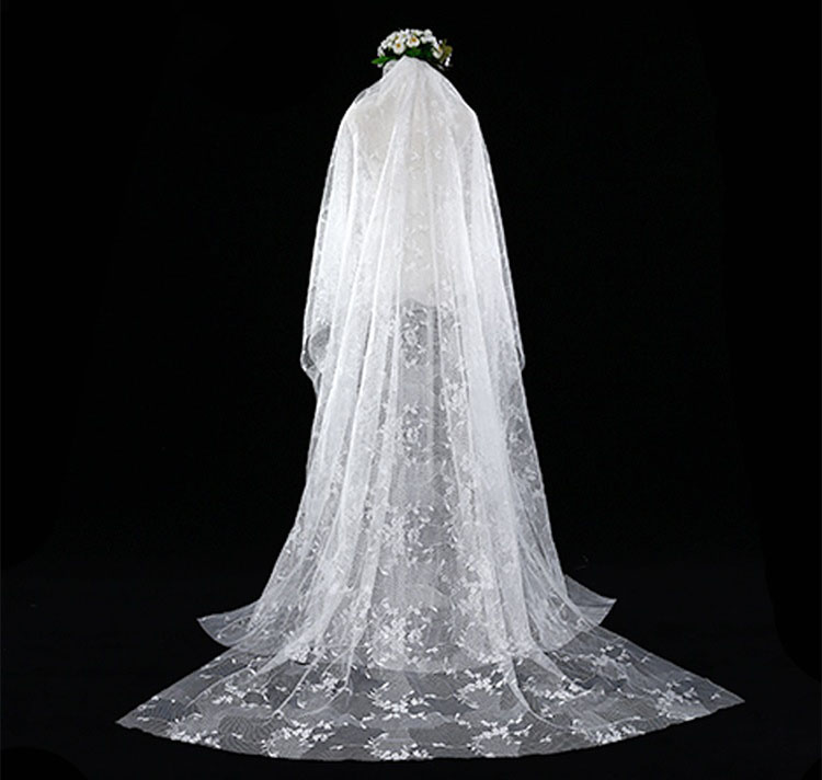Black Wedding Veils with Comb 2 Meters Long White Bridal Veils Hair Accessories