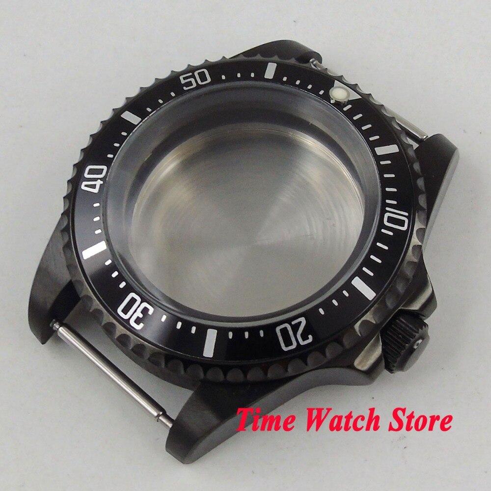 42mm PVD coated case black aluminum alloy bezel Watch Case fit ETA 2824 2836 DG2813 3804 MIOTA 8215 8205 821A movement C18 цена