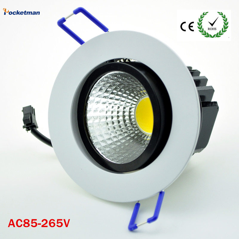 Dimmable Recessed led downlight cob 5W 7W 9W 12W dimming LED Spot light led ceiling lamp AC 110V 220V free shipping surface mount led cob downlight dimmable 7w 10w 15w dimming cob led spot light led ceiling lamp ac110v 240v