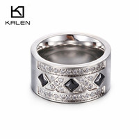Kalen Stainless Steel Silver Color Women Rings Zircon Rhinestone Australia Fashion Ring For Party Wedding Engagement