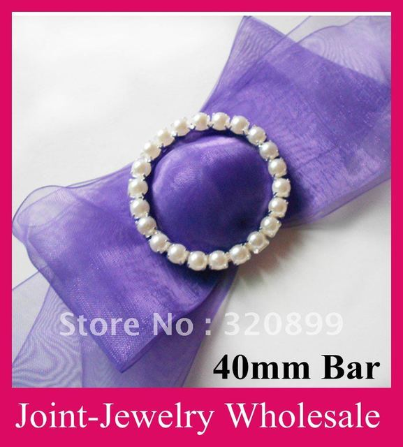Whole 120pcs Lot 50mm Outer Gorgeous Pearl Chair Sash Buckle Rhinestone