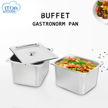 цены GN Pan 6pc/set 304 stainless steel 1/2 Food pan Chafing Dish Gastronorm Pan Container 6mm Thickness with  Lid For Buffet Canteen
