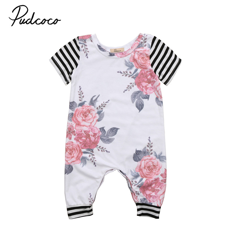 New Style Toddler Infant Baby Girls Clothes Floral Short Sleeve Romper Jumpsuit Clothes Outfit