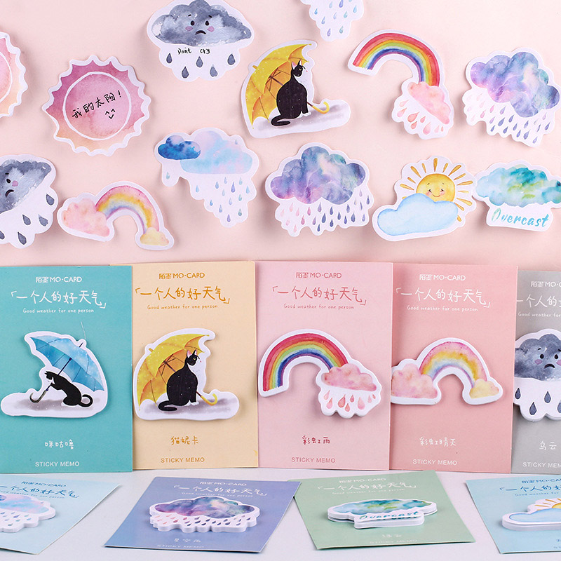 30Sheets/Set Kawaii Sticky Notes Pads Cute Cat Rainbow Memo Pads For Kids Girls Gifts School Office Supplies Novelty Stationery