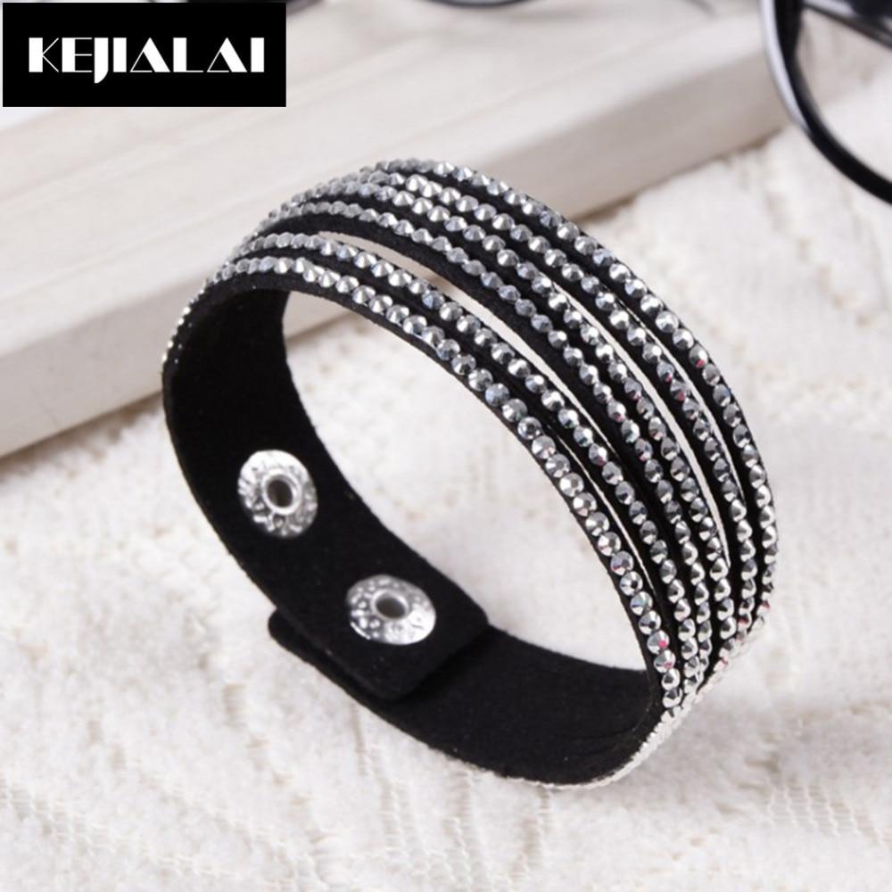 Rhinestone Wide Multilayer Bracelets Boho Women Fashion Jewelry Charm Bangles Pave Crystal Rhinestone Birthday Gift Femenino