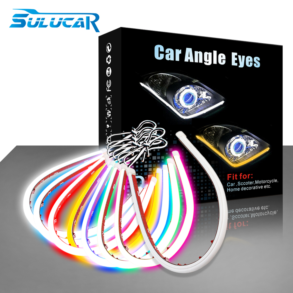 SULUCAR 2PCS DRL LED 30 60cm Flexible Daytime Running Light Soft Tube Guide Car LED Strip White Red Turn signal Yellow in Car Light Assembly from Automobiles Motorcycles