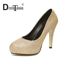 DoraTasia Fashion Women Glitter Bling Upper High Heel Party Wedding Shoes Round Toe Platform Pumps Size 32-40
