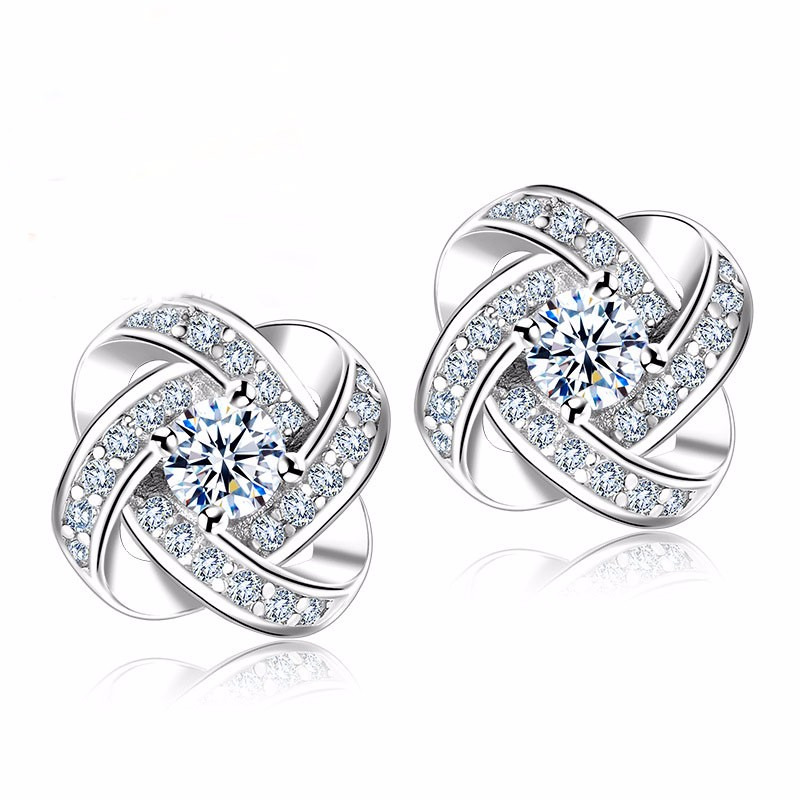 640060af2 Jemmin Crystal Earrings 925 Sterling Silver Knot Flower Stud Earrings for  Women Brincos Bijoux Wedding Jewelry