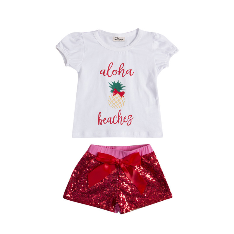 2017 New Style Princess Baby Girls Clothes Short Sleeve Tops T-Shirt Sequin Shorts Pants Outfit Baby Clothing Set