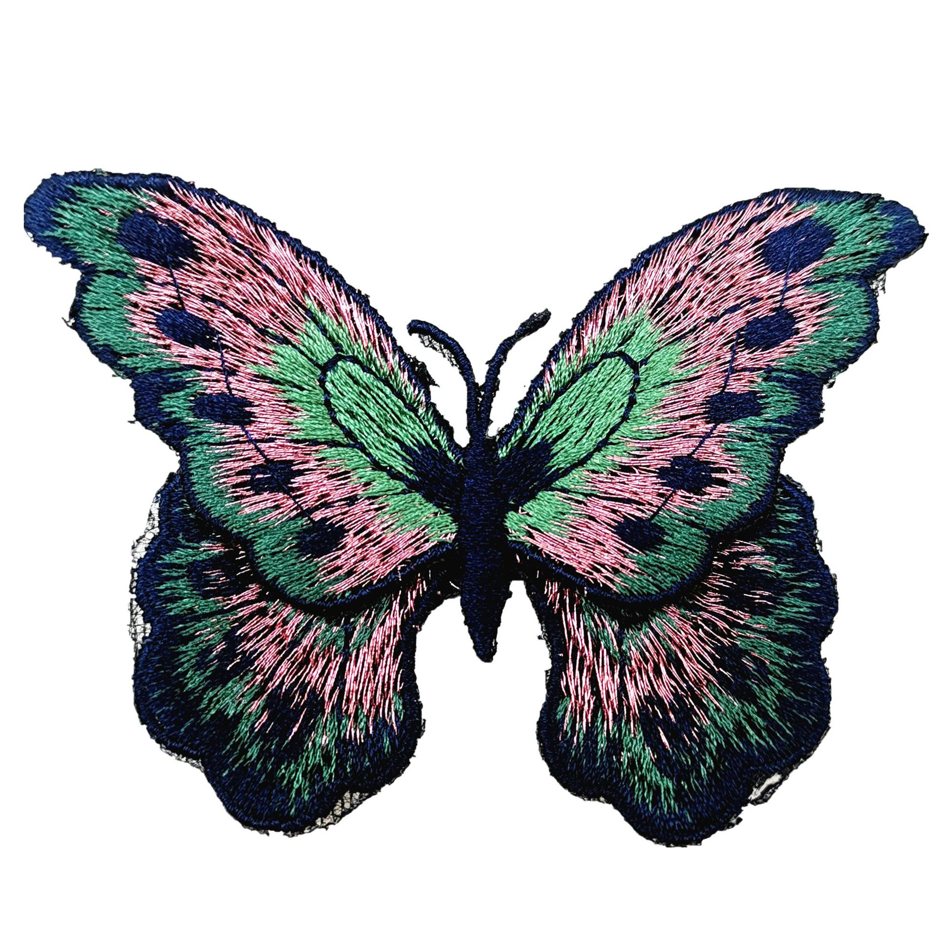 DIY Decoration Accessories 3d Flower Patches Good Quality Butterfly Embroidery Water Soluble