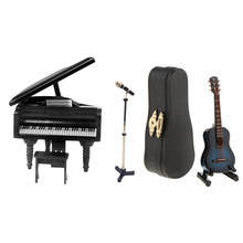 Miniature Musical Instrument Microphone Guitar Piano Set Model for 1/12 Dollhouse Figures Dolls Accessory Desktop Display Decor(China)