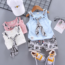 Summer Children Baby Boys Girls Clothes Fake Tie Vest Printing Shorts 2pcs/Sets Child Toddler Fashion Clothing Infant Tracksuits free shipping 2017 summer female baby girls shorts sets infant fly sleeve vest 2pcs suit lollipop