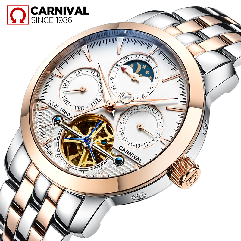 Фото Fashion tourbillon watch men Moon Phase Stainless steel Automatic mechanical Sapphire waterproof white watch relogio masculino