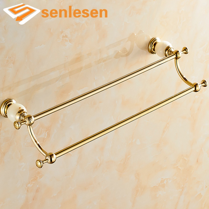 Luxury Wall Mounted Double Towel Holders Towel Bars Marble & Brass Hangers Gold Finish стоимость