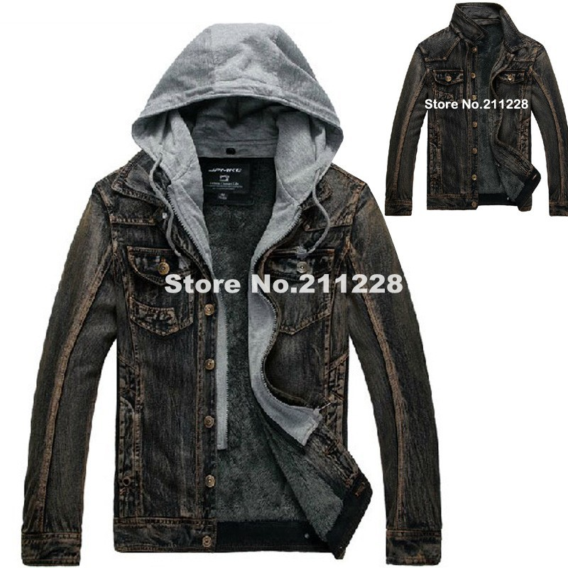 winter mens plus velvet warm hoodied denim jacket , male cool jean ...