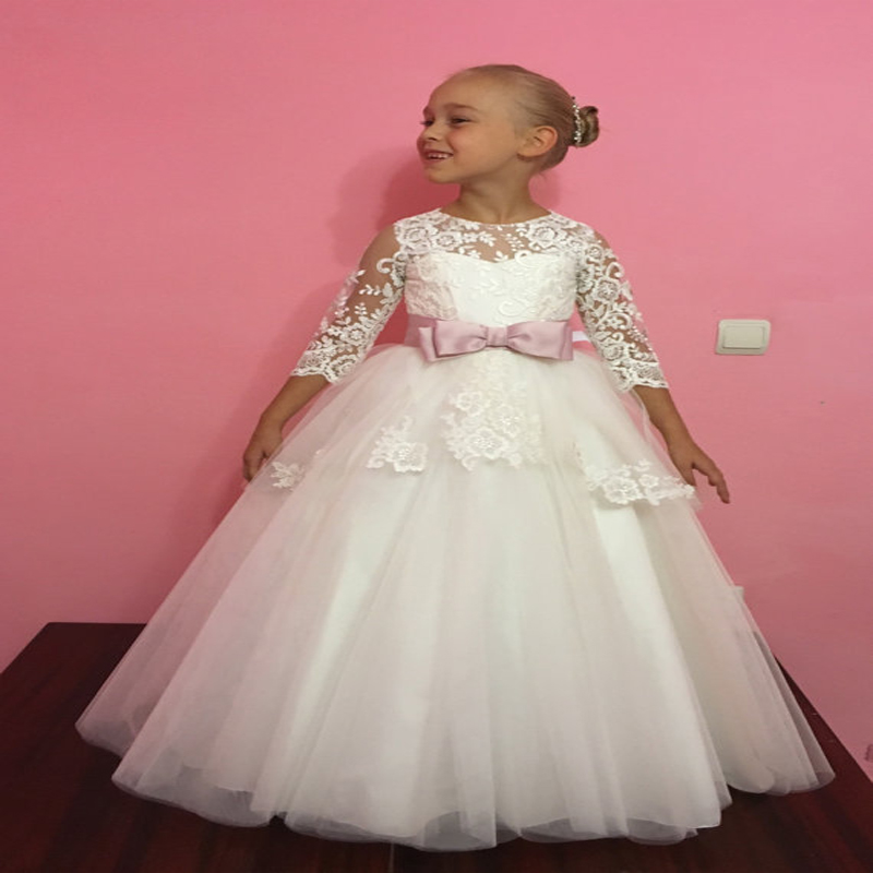 Ball Gown Flower Girls Dresses For Wedding Tulle Kids Evening Gown Lace Communion Dresses Girls Clothes Mother Daughter Dresses new spring pretty flower girls dresses tulle communion gown ball gown mother daughter dresses lace holy communion dresses