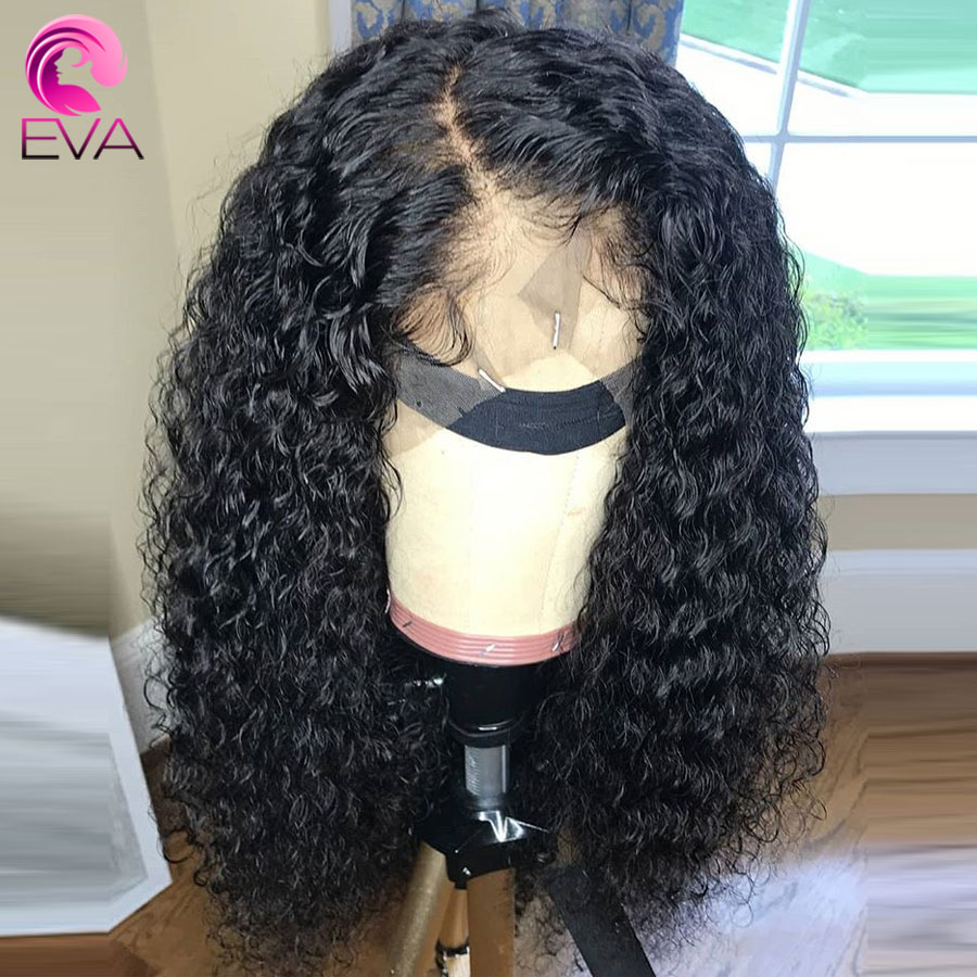 Eva Hair Glueless Curly Lace Front Human Hair Wigs Pre Plucked With Baby Hair Brazilian Lace Front Wig For Black Women Remy Hair