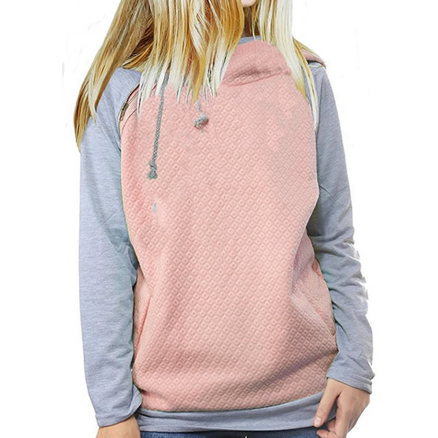 2018 New Fahsion Hoodies For Women Zipper decoration Long Sleeve Casual Spring Autumn Pullovers Female Hoodies 1