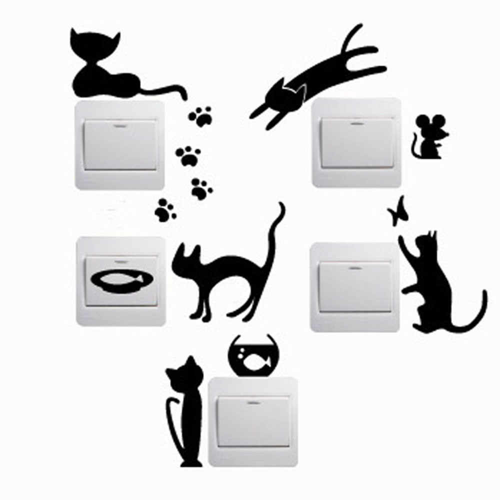 5pcs Removable Cute Lovely Cat Switch Wall Sticker Vinyl Decal Home Wallpaper Decor 23x13cm PVC Wallpaper for Wall Stickers