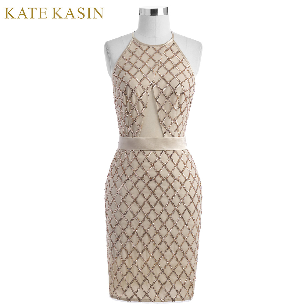 Kate Kasin 2018 Sequins Short Prom Dresses for Party Knee Length Halter Formal Gowns Spe ...