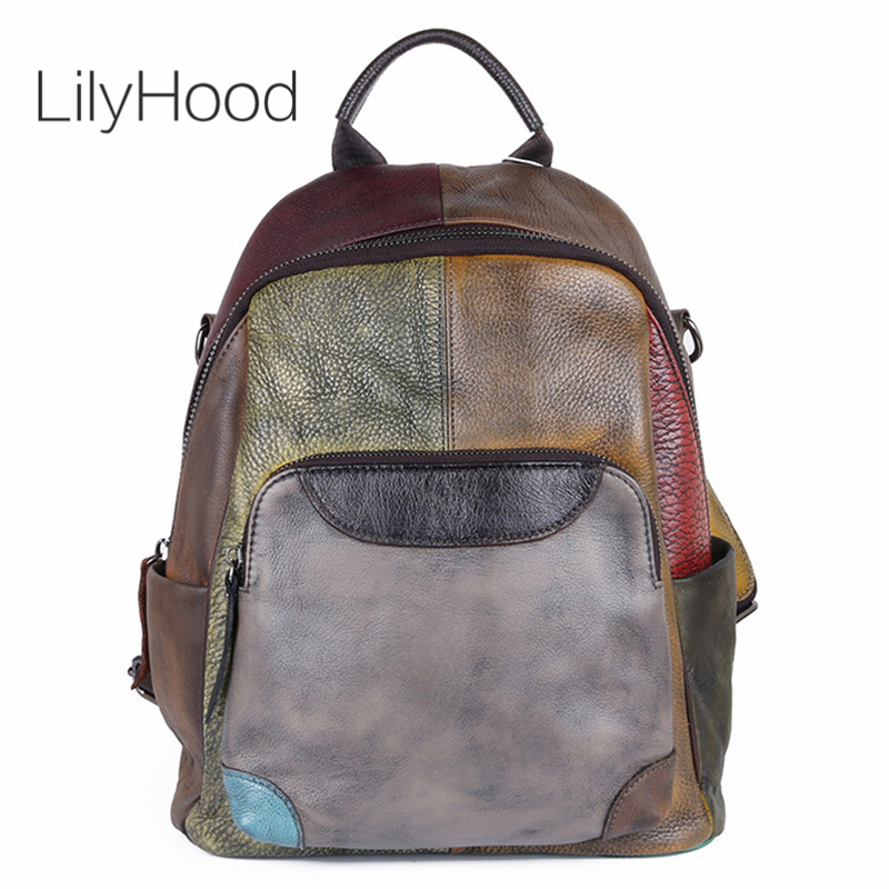 Handmade Natural Brushed off Leather Backpack Women Vintage Genuine Leather Patchwork Packsack Back To School Female