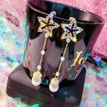DREJEW Blue Star Water Drop Pearl Statement Earrings 2019 Long Tassel Silver Gold Drop Earrings for Women Fashion Jewelry HE9011 yancey original design baroque pearl long tassel star luxurious big drop earrings 9k gold inlay the style of the goddess