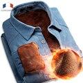 Lanmgeng 2016 100% Pana de Algodón Camisa de Vestido de Los Hombres de Invierno Gruesa Camisa Casual para hombre térmicas de invierno de Color Sólido Delgado ajuste