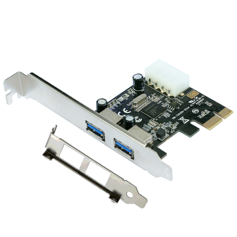 2-Port SuperSpeed USB 3.0 PCI-E PCIE PCI Express 4-pin IDE Connector Adapter Usb3.0 Add On Card With Low Profile