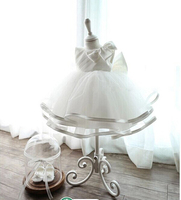 Free Shipping Retail White Lace Girl Summer Dresses Children Party Birthday Dress Princess Baby Girl Wedding