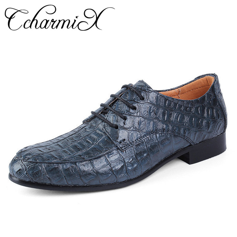 CcharmiX Fashion Alligator Grain Genuine Leather Mens Oxfords Lace Up Business Men Dress Shoes Party zapatos
