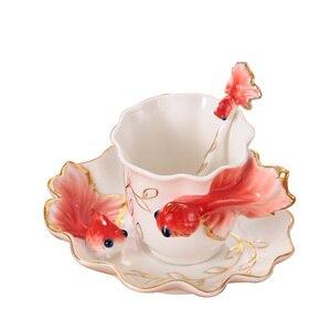 Image 2 - Emaliowane kubki do kawy kubki na herbatę z łyżeczką spodek zestawy Procelain Creative Drinkware Lover Gift