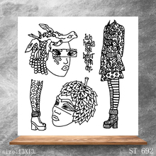 ZhuoAng Fashion girl Transparent Stamps DIY Scrapbooking Album Card Making Decoration Embossing Stencil